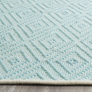 Safavieh Hand-Woven Montauk Turquoise/ Ivory Cotton Rug (3' x 5')