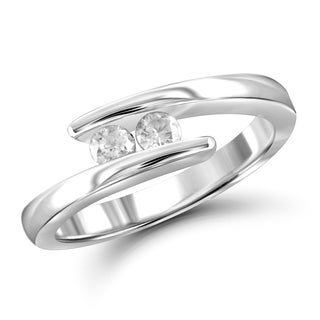 Jewelonfire 10k Gold 1/4ct TDW White Diamond 2-stone Ring (I-J, I2-I3)