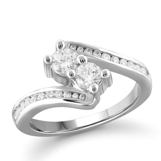 Jewelonfire 10k Gold 1ct TDW White Diamond 2-stone Ring