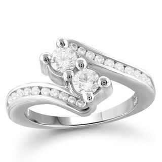 Jewelonfire 10k Gold 1 1/4ct TDW White Diamond 2-stone Ring (I-J, I2-I3)