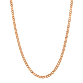 Gioelli Rose Goldplated Silver Curb 20-inch Chain Necklace