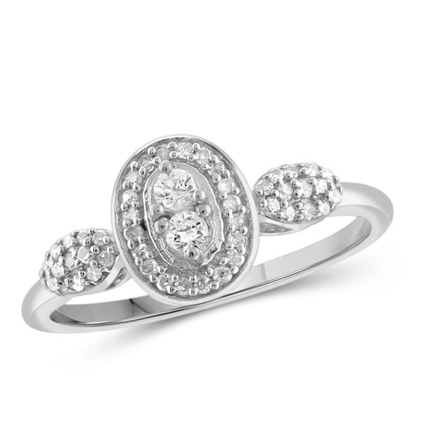 Jewelonfire 10k Gold 1/4ct TDW White Diamond 2-stone Ring
