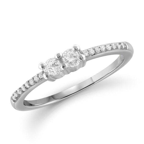 Jewelonfire 10k Gold 1/4ct TDW White Diamond Ring
