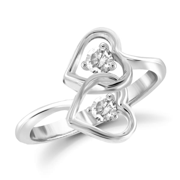 Jewelonfire 10k Gold 1/4ct TDW White Diamond 2-stone Heart Ring