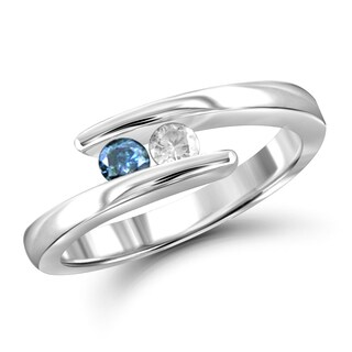 Jewelonfire 10k Gold 1/4ct TDW Blue and White Diamond 2-stone Ring