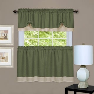 Achim Darcy Window Curtain Tier and Valance Set (Green/Camel - 58x24)