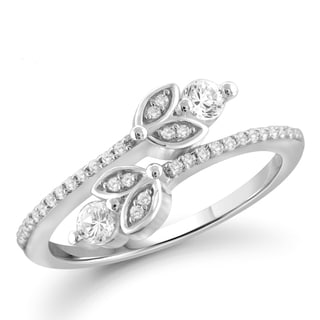 Jewelonfire 10k Gold 1/3ct TDW White Diamond 2-stone Flower Ring