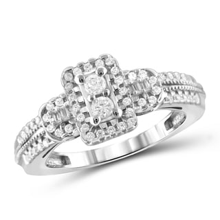 Jewelonfire 10k Gold 1/2ct TDW White Diamond 2-stone Ring