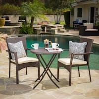 Elba Outdoor 3-piece Wicker Bistro Set with Cushions by Christopher Knight Home