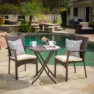 Elba Outdoor 3 Piece Wicker Bistro Set With Cushions By Christopher Knight Home