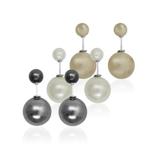 Pearlyta Sterling Silver Freshwater Pearl Front and Back Earring Set (8-16mm)