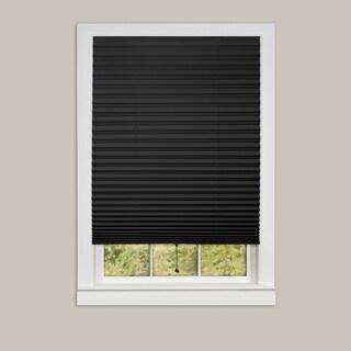 Achim 1-2-3 Black Vinyl Room-darkening Pleated Window Shade