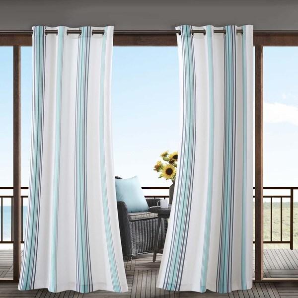 Madison Park Bolinas Printed Stripe 3M Scotchgard Outdoor Panel