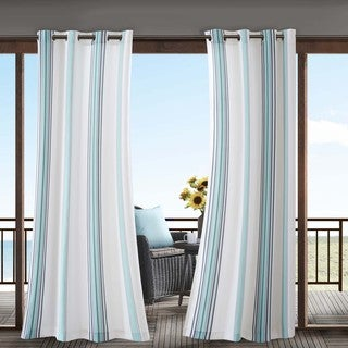 Madison Park Bolinas Printed Stripe 3M Scotchgard Indoor/ Outdoor Curtain Panel