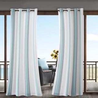 Madison Park Bolinas Printed Stripe 3M Scotchgard Indoor/ Outdoor Curtain Panel