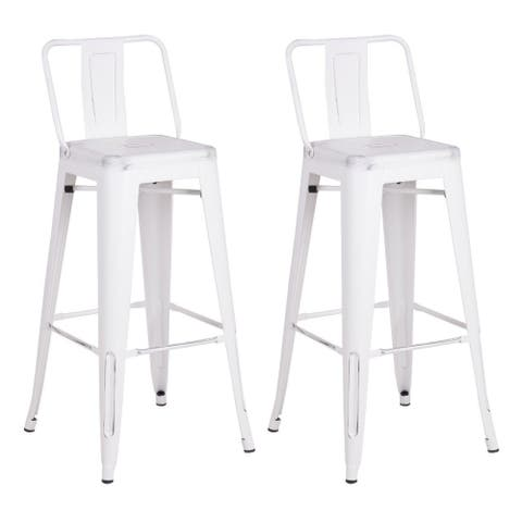 Metal Industrial 24-inch Bar Stool (Set of 2)