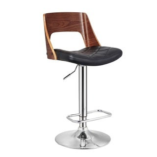 Walnut Chrome Adjustable Swivel Bar Stool