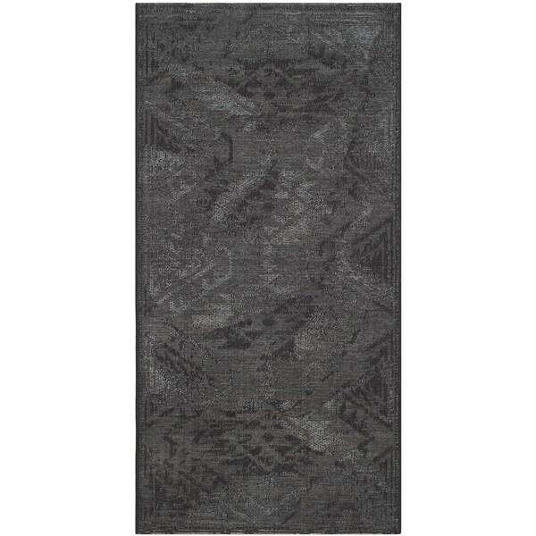 Safavieh Palazzo Black/ Grey Vintage Chenille Area Rug (2' 6 x 5')