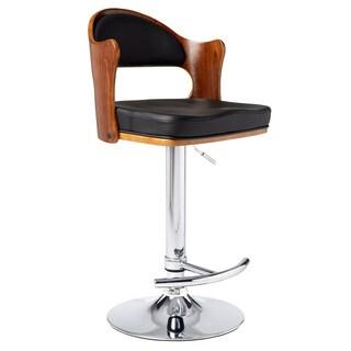Mid Century Modern Black Adjustable Swivel Wood/ Metal Barstool