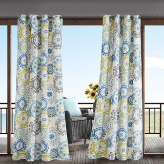 Madison Park Carmel Printed Medallion 3M Scotchgard Water Repellent and Stain Resistant Outdoor Grommet Top Curtain Panel