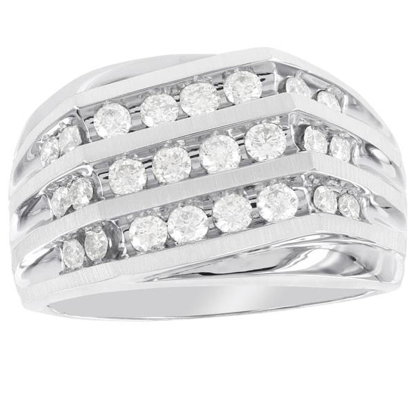 Shop H Star 10K White Gold 1ct TDW Diamond Men's Ring (I-J