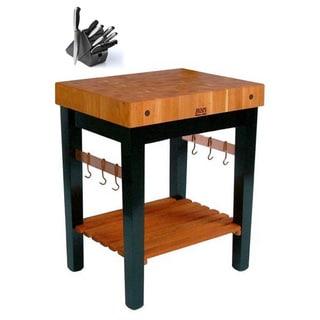 John Boos  RN-PPB3024 Cherry Wood Grain 30x24 Butcher Block Table & Henckels 13 Pc Knife Set