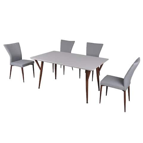 Carson Carrington Bryne Glossy White 5 Piece Dining Set