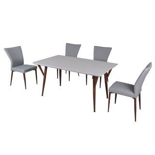 Glossy White 5 Piece Dining Set