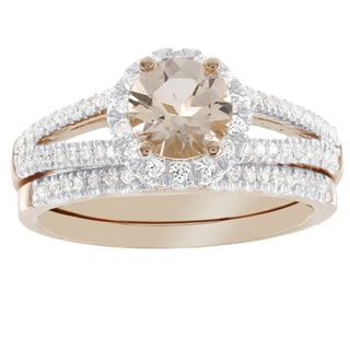 H Star 14K Rose Gold Morganite and 1/3ct TDW Diamonds Bridal Set (I-J, I2-I3)
