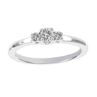 H Star 14k White Gold 1/4ct TDW Diamond Three Stone Engagement Ring (I-J, I2-I3)