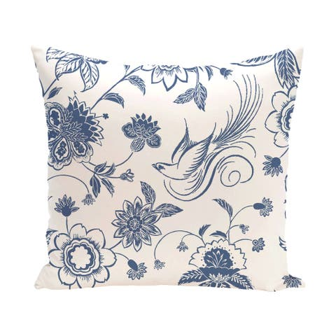 Traditional Bird Floral 18 x 18-inch Outdoor Pillow