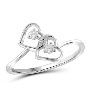 Jewelonfire 10k Gold 1/10ct TDW White Diamond 2-stone Double Heart Ring (I-J, I2-I3)