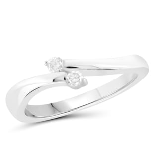 Jewelonfire 10k Gold 1/10ct TDW White Diamond 2-stone Thin Ring (I-J, I2-I3)