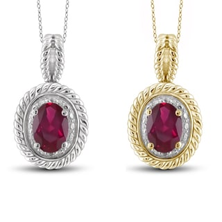 Jewelonfire Sterling Silver Ruby and White Diamond Accent Pendant