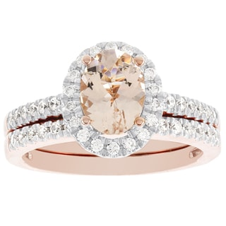 H Star 14K Rose Gold Oval Morganite and 1/2ct TDW Diamond Bridal Set (I-J, I2-I3)
