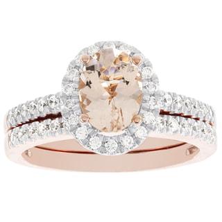 H Star 14K Rose Gold Oval Morganite and 1/2ct TDW Diamond Bridal Set (I-J, I2-I3)
