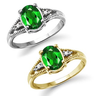 Jewelonfire Sterling Silver Chrome Diopside and Diamond Accent Ring