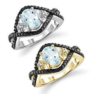 Jewelonfire Sterling Silver Aquamarine and Diamond Accent Ring