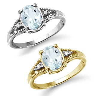 Jewelonfire Sterling Silver 1 1/6ct TGW Aquamarine and White Diamond Accent Ring