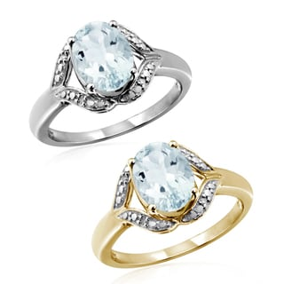 Jewelonfire Sterling Silver 1 1/6ct TGW Aquamarine and Diamond Accent Ring