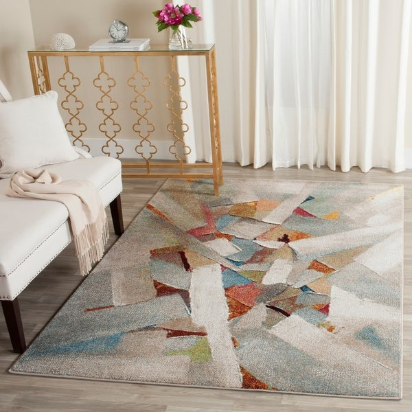Safavieh Porcello Modern Abstract Brushstrokes Grey/ Multi Rug - 4' x 6'
