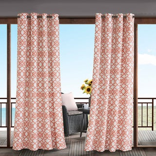 Madison Park Crystal Printed Fretwork 3M Scotchgard Water Repellent and Stain Resistant Outdoor Grommet Top Curtain Panel