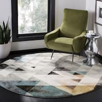 Safavieh Porcello Modern Abstract Geometric Grey/ Blue Rug - 4' x 6'