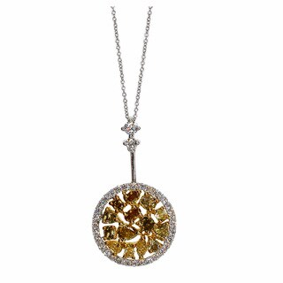 Kabella 14k Two-tone Gold 7/8ct TDW Yellow and White Diamond Cluster Pendant (G-H, SI1-SI2)