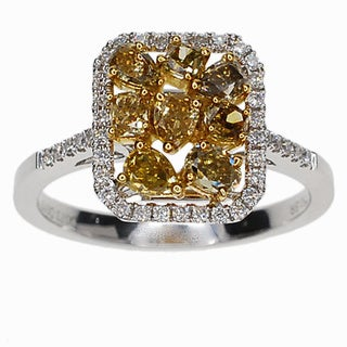 Kabella 18k White Gold 7/8ct TDW Yellow and White Cluster Diamond Ring (G-H, SI1-SI2)