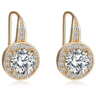 Gold Overlay 3ct TGW Cubic Zirconia and Austrian Crystal Earrings