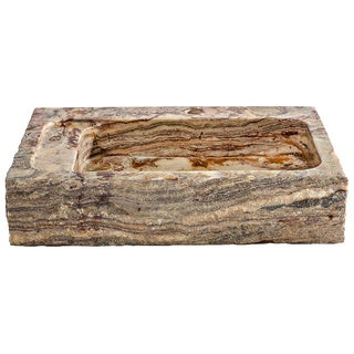 Tori Golden Onyx Bold Rough Edged Natural Stone finish Rectangular Sink