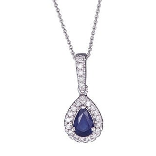 Anika and August 10k White Gold Pear-cut Ceylon Blue Sapphire and 1/10ct TDW Diamond Pendant (G-H, I1-I2)