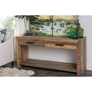 Kosas Home Hand Crafted Oscar Natural Recovered Shipping Pallets 2 Drawer Console Table