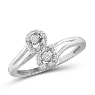 Jewelonfire 10k Gold 1/6ct TDW White Diamond 2-stone Ring (I-J, I2-I3)